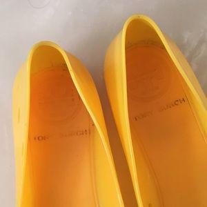 Tory Burch Shoes - Tory Burch yellow jelly Reba flats